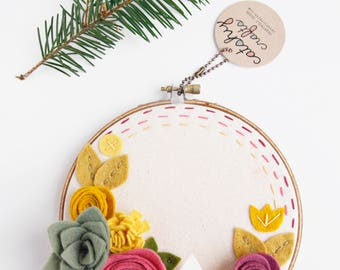 Embroidery Hoop Art. Felt Flower Sign. 3D Art.  Wall Garden. Faux Flowers. Rustic Wall Decor. Fall Decor. Gift for Women. Gift for Mom
