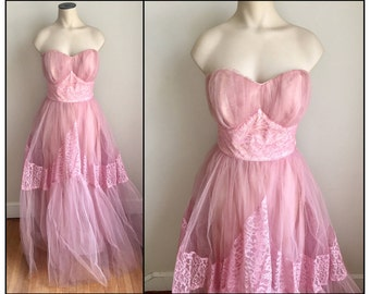 Vintage 1950s Pastel Pink Tulle Strapless Formal Prom Dress Petite XXS
