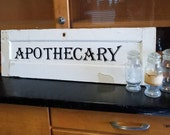 Handmade Apothecary Sign Rustic Chippy Wood White Black