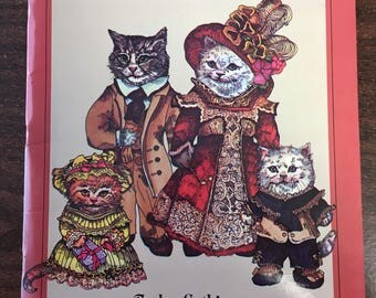 """Vintage 80's """"PAPER DOLL FUN""""   Victorian Cat Family Theme in Full Color - New Old Stock"""