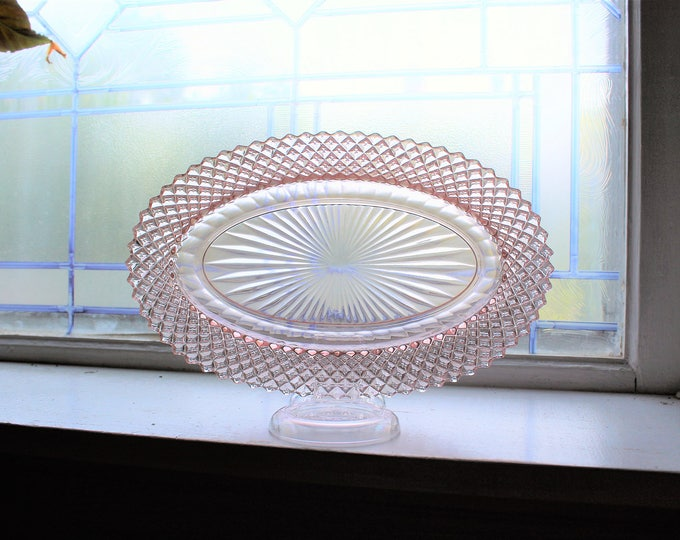 Pink Depression Glass Oval Celery Dish Miss America Diamond Vintage 1930s