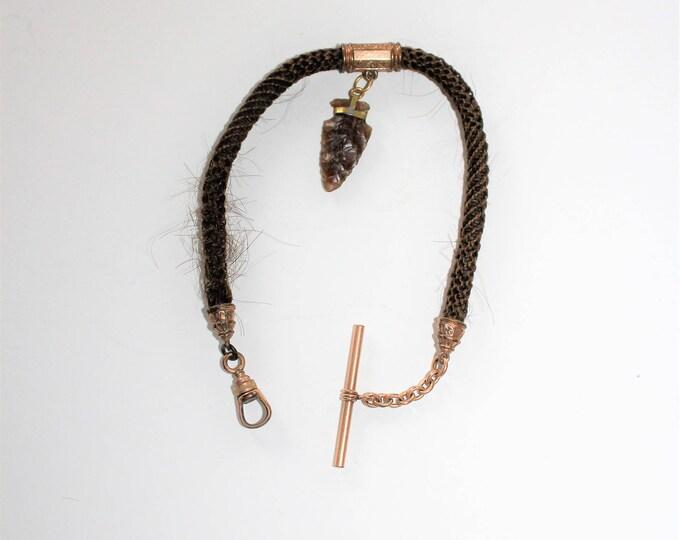 Antique Victorian Pocket Watch Chain Woven Human Hair & Arrowhead
