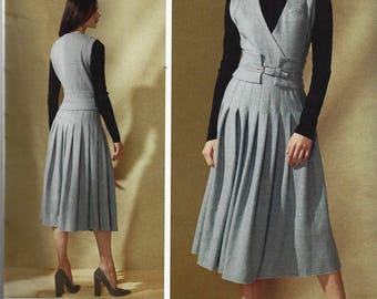 RACHEL Co MEY Vogue American Designer Pattern v1556  Misses Sleeveless Pleated Dress with Wide Belt Size 14-22 New