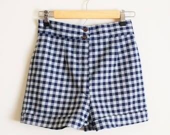 Vintage 1960s Navy Gingham Shorts High Waisted Gingham Shorts High Waist Vintage Shorts 50s Shorts 60s Shorts 70s Shorts Small Medium Size 6