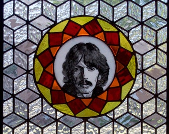 One of a kind stained glass window/panel featuring George Harrison