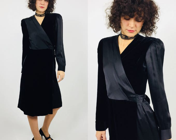 Vintage 1970's Christian Dior Boutique Black Silk Charmeuse & Velvet Wrap Dress - Designer Vintage - Dior by Marc Bohan - Small to Medium