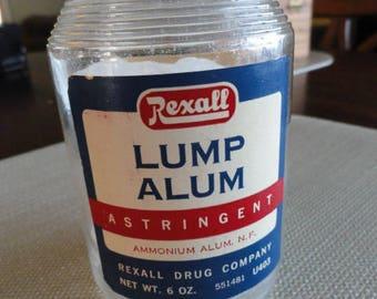 Vintage Rexall Bottle Vintage Drug Store lump alum