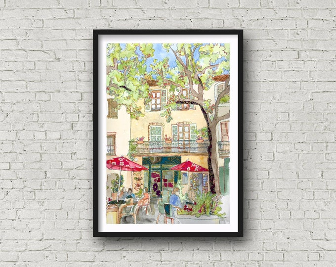 Featured listing image: France - Provence - Tourtour - Var - French Cafe Scene - Print