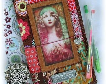 OOAK Fauxdori, Gypsy Wanderer Midori, Fabric Collage Fauxdori, Traveler's Notebook, Free Insert!