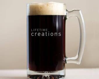 12 Custom Engraved Beer Mugs with Logo: Beer Mugs with Logo, Promotional Beer Mugs, Etched Beer Mugs, Custom Beer Mugs, SHIPS FAST