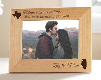 Personalized Long Distance Love Picture Frame: Long Distance Relationship Frame, Long Distance Christmas, Long Distance Girlfriend
