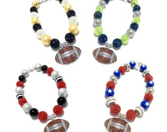 Toddler or Girls Football Chunky necklace - Red and Black Football Necklace - Navy and Green Chunky Necklace - Football Birthday Necklace