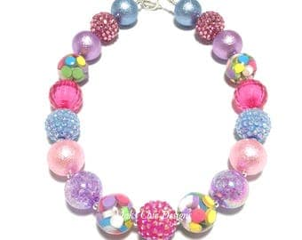 Toddler or Girls Valentines Day Candy Chunky Necklace - Pink, Purple and Blue Chunky Necklace - Candy Heart Necklace - Rainbow Necklace