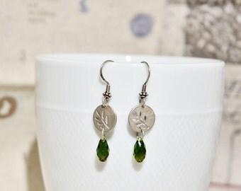 Matte Sterling Silver Crystal Earrings, Antique Style Earrings