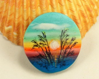 StudioStJames Artisan Crafted Polymer Clay 34 mm Focal Bead  Pendant-Seascape-Sunset-Beach Themed-Blue-Yellow-Orange-PA 100774