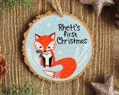 Fox Ornament, Baby's First Christmas, Personalized Ornaments for Kid, Custom Name Ornament, Woodland Animal Ornament, gift for baby boy