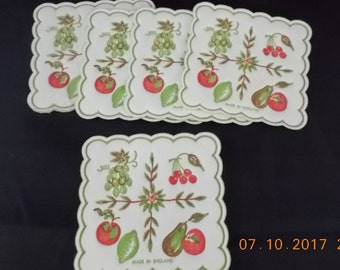 """5 Vintage Paper Coasters 3"""" x 3"""" Square Fruits Motif - England - Art Journal, Collage Paper, Mix Media Art, Assemblage, Scrapbook Supply"""