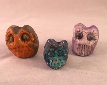 Handmade Ceramic Painted Owl Set