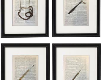 4 Vintage Doctor Prints Silver Medical Equipment Stethoscope Syringe Gift Health Dictionary Vintage Upcycled Book Art