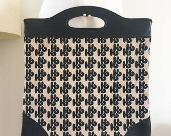 Vintage black white  monogram  H bag canvas 70s