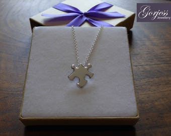Small Puzzle Piece Pendant Necklace, Silver and Handmade