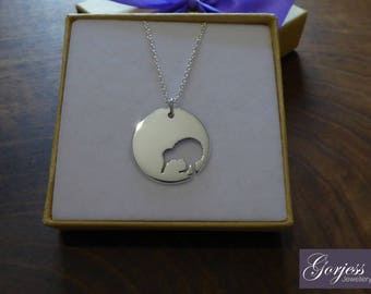 Silver Kiwi Bird Necklace - Handmade Kiwi Pendant - Kiwi Bird