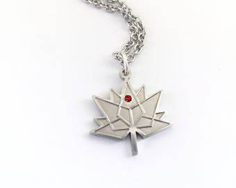 Official Licensed Gorgeous Canada 150 Necklace with red set stone/Gift for visitor/ Tourist Souvenir/Red Maple Leaf Jewelry/Canadian jewelry