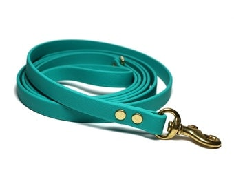 """Teal Biothane Leash - New Color - Thin 1/2"""" (12mm) wide Small Dog Leash - Choice of: Stainless Steel Or Brass Hardware - Custom Length"""