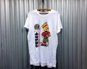 Bootleg Bart -- White t-shirt sporting an awesome knock-off Bart Simpson graphic -- Large