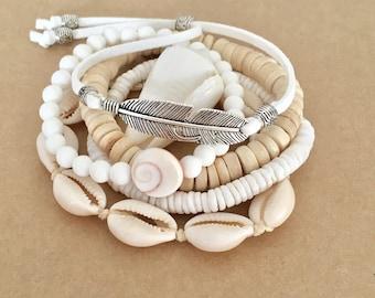 boho jewelry,  bracelet stack, beach jewelry, beachcomber accessory, boho bracelets