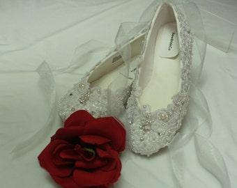 Size 5 1/2 Wedding Ballet Stye Slipper Ready to ship Regally enhanced w/ lace Swarovski Crystals & Pearls,Victorian,Great Gatsby Style,Flats