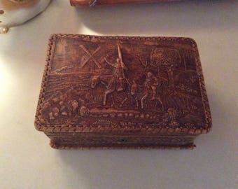 Leather Spanish Jewelry Box, Vintage
