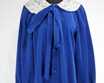 Vintage Blue Robe Loungewear Matej for Odette Barsa Velour NOS Medium