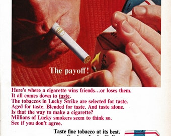 Vintage 1964 Lucky Strike Cigarette Ad: The Payoff!