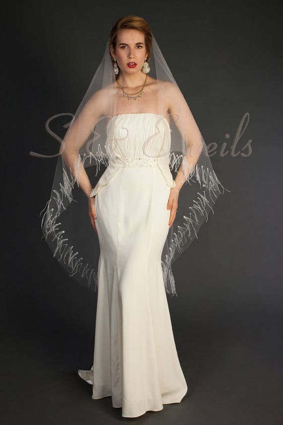 2-tier Drop veil features feathers and pearls around edging | ready to ship, fast production