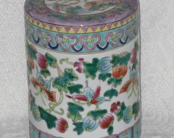 Asian Ceramic Tea Canister Porcelain Cookie Biscuit Jar Vintage