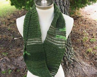 Super Green Scarf, Crochet, Handmade, Infinity Scarf