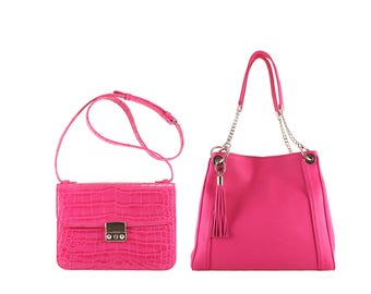 Leather shoulder bag AMALIA, GITTA // pink fuchsia  crocodile effect (Italian calf skin) - FREE shipping, unique
