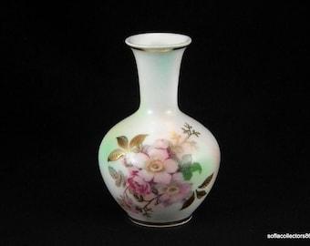 Schumann Arzberg Bud Vase or Cabinet Vase - Wild Rose Smooth Pattern on Peach Blush Body - Vintage 1960s Bavarian China