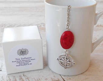 Tea Infuser, Compass, Lead Free Charm, Red Stone Bead, Find Your Way, Graduation, Gift Boxed, Find Direction, Nautical Tea Infuser