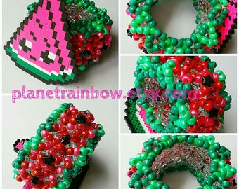 Watermelon 3X Tall Perler 3D Kandi Cuff - Rave - Festival - Kawaii - Pink - Green - Red - Black