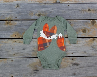 Fox Baby Bodysuit, Pumpkin Spice Fox, Plaid Fox Shirt, Fall Baby Clothing