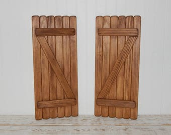 Rustic Wooden Shutters Interior Shutters Country Decor Primitive Decor Wall Accents