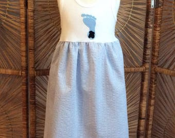 GINGHAM TARHEELS APPLIQUED tank dress! Your North Carolina girl will rock in this white tank with Tarheel applique