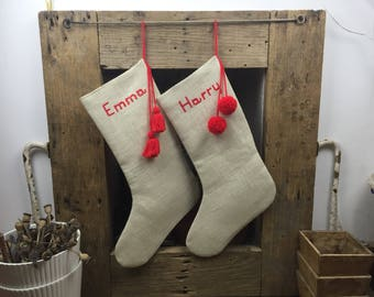 Personalized Christmas Stocking Hand Embroidered Name, Red Tassels or Pom Pom Detail, Cream Stocking, Holiday Decor