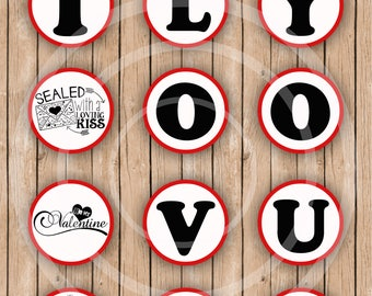 Love You Wedding Favor Tags Valentine Cupcake Topper Love Stickers Valentine Labels Treat Bag Labels Stickers Valentine Decorations