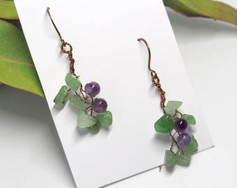 Amethyst Aventurine earrings twig leafy dangle gemstone Woodland Fall Nature inspired jewelry Autumn gifts Christmas gift for women her
