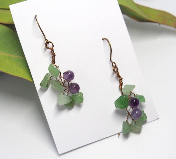 Amethyst Aventurine earrings twig leafy dangle gemstone Woodland Fall Nature inspired jewelry Autumn gifts for women her