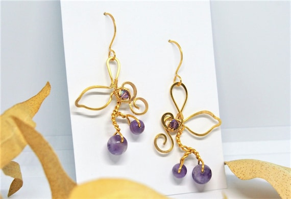 Gold amethyst earrings gold plated wire Dangle purple gemstone Wedding bridal nature jewelry Bridesmaids gift for women Christmas gifts