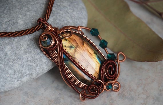 Heady wire wrap pendant Labradorite wire wrapped gemstone necklace Copper jewelry gift for girlfriend women her Anniversary gifts